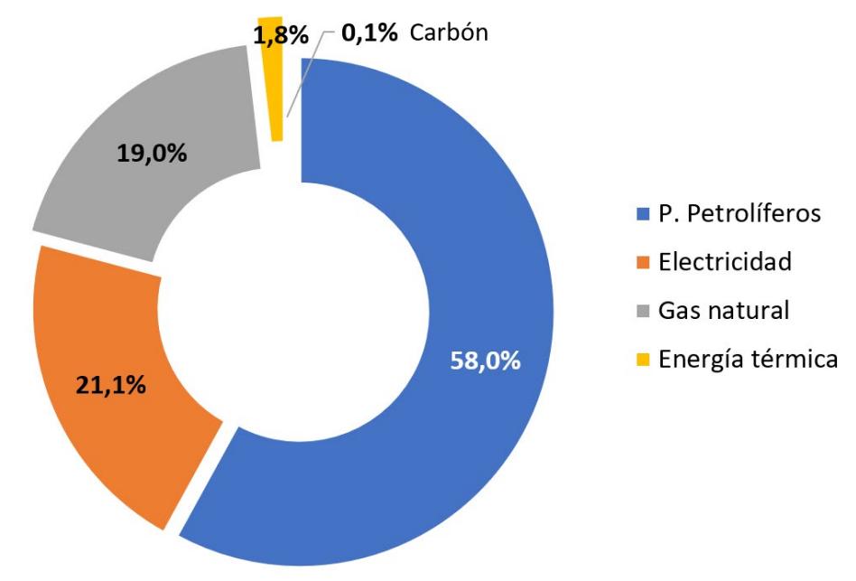 Gráfico: Fuente energética final consumida por tipo